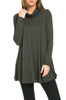 Long Sleeve Cowl Neck A-Line Tunic Dress - BodiLove | 30% Off First Order - 39