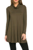 Long Sleeve Cowl Neck A-Line Tunic Dress - BodiLove | 30% Off First Order - 55