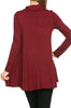 Long Sleeve Cowl Neck A-Line Tunic Dress - BodiLove | 30% Off First Order - 37