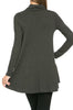 Long Sleeve Cowl Neck A-Line Tunic Dress - BodiLove | 30% Off First Order - 40