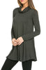 Long Sleeve Cowl Neck A-Line Tunic Dress - BodiLove | 30% Off First Order - 41