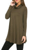 Long Sleeve Cowl Neck A-Line Tunic Dress - BodiLove | 30% Off First Order - 57