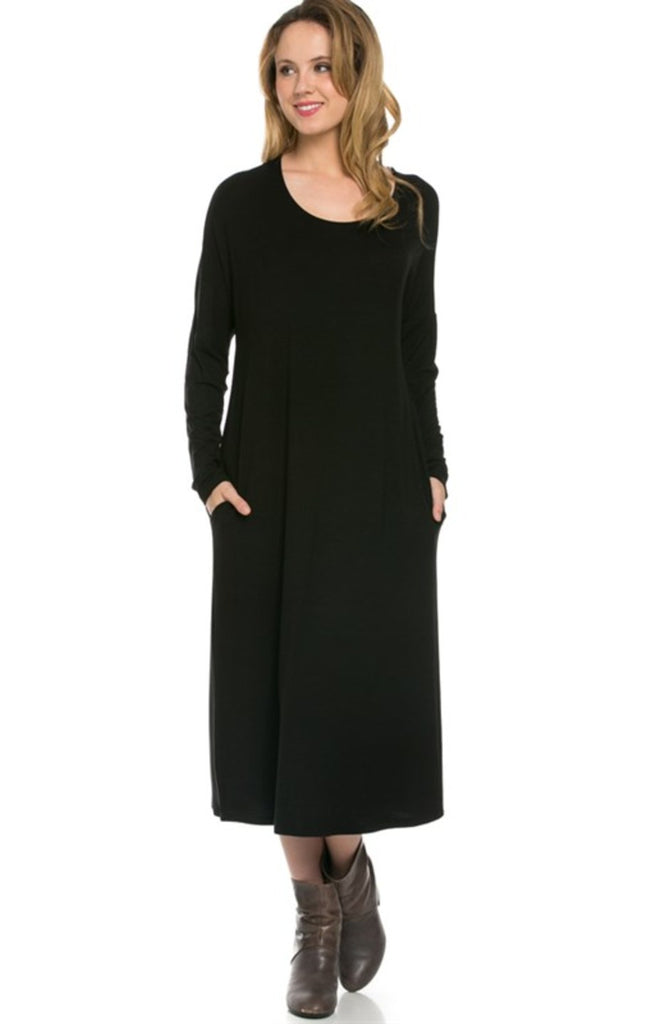 Long Sleeve Relaxed Fit Midi Dress W/ Pockets - BodiLove | 30% Off First Order - 13 | Black