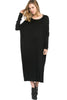 Long-Sleeve, Dolman Midi Dress | 30% Off First Order | Black