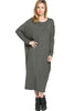 Long-Sleeve, Dolman Midi Dress | 30% Off First Order | Charcoal
