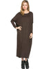 Long-Sleeve, Dolman Midi Dress | 30% Off First Order | Dark Brown