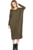Long-Sleeve, Dolman Midi Dress | 30% Off First Order | Olive