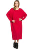Long-Sleeve, Dolman Midi Dress | 30% Off First Order | Red