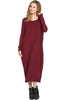 Long-Sleeve, Dolman Midi Dress | 30% Off First Order | Wine