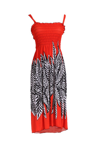 Palm Tree Design Easy-Fit Midi/Mini Summer Beach Dress with Shoulder Straps