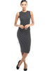 Sleeveless Knit Bodycon Midi Cocktail Dress - BodiLove | 30% Off First Order - 5 | Black & White