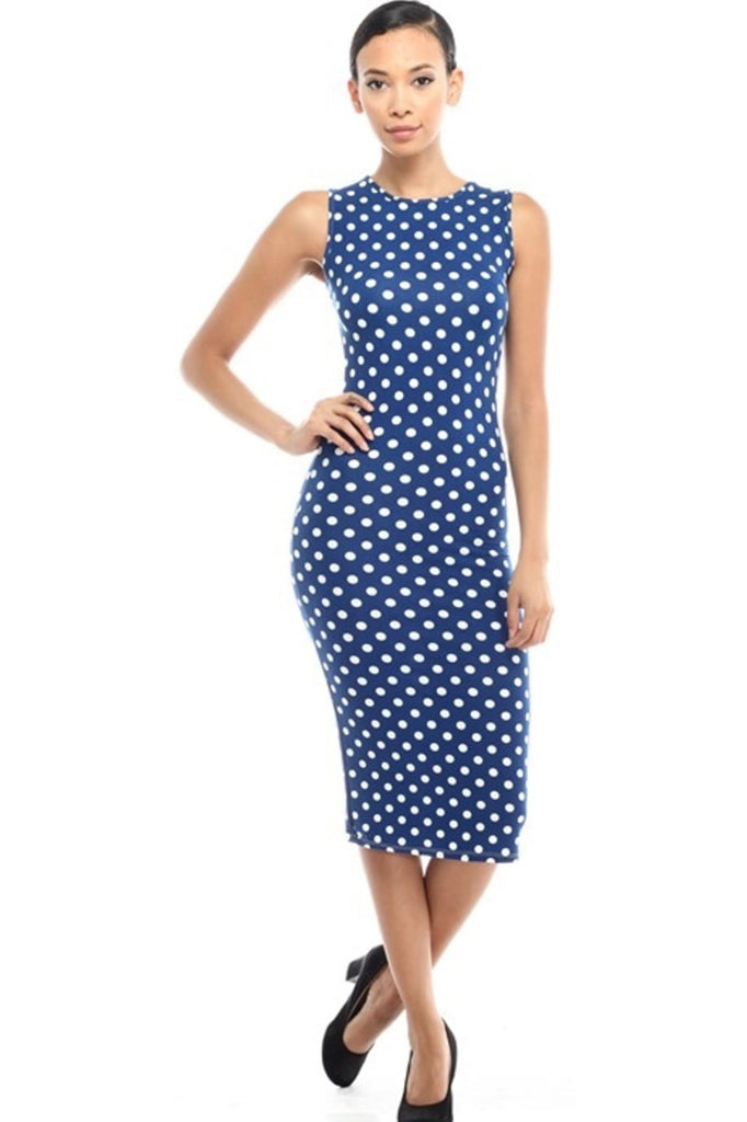 Sleeveless Knit Bodycon Midi Cocktail Dress - BodiLove | 30% Off First Order - 9 | Navy & White