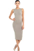 Sleeveless Knit Bodycon Midi Cocktail Dress - BodiLove | 30% Off First Order - 22 | Taupe