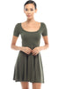 Short Sleeve Scoop Neck Fit & Flare Skater Dress - BodiLove | 30% Off First Order - 5 | Olive