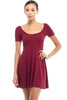 Short Sleeve Scoop Neck Fit & Flare Skater Dress - BodiLove | 30% Off First Order - 3 | Burgundy
