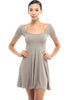 Short Sleeve Scoop Neck Fit & Flare Skater Dress - BodiLove | 30% Off First Order - 9 | Taupe