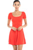 Short Sleeve Scoop Neck Fit & Flare Skater Dress - BodiLove | 30% Off First Order - 15 | Red