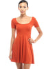 Short Sleeve Scoop Neck Fit & Flare Skater Dress - BodiLove | 30% Off First Order - 7 | Rust