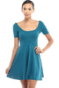 Short Sleeve Scoop Neck Fit & Flare Skater Dress - BodiLove | 30% Off First Order - 11 | Teal