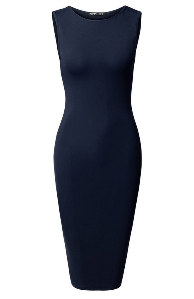 Sleeveless Knit Bodycon Midi Cocktail Dress - BodiLove | 30% Off First Order - 5 | Navy