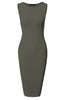 Sleeveless Knit Bodycon Midi Cocktail Dress - BodiLove | 30% Off First Order - 16 | Olive