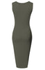 Sleeveless Knit Bodycon Midi Cocktail Dress - BodiLove | 30% Off First Order - 17 | Olive