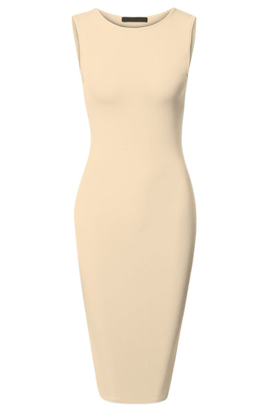 Sleeveless Knit Bodycon Midi Cocktail Dress - BodiLove | 30% Off First Order | Khaki
