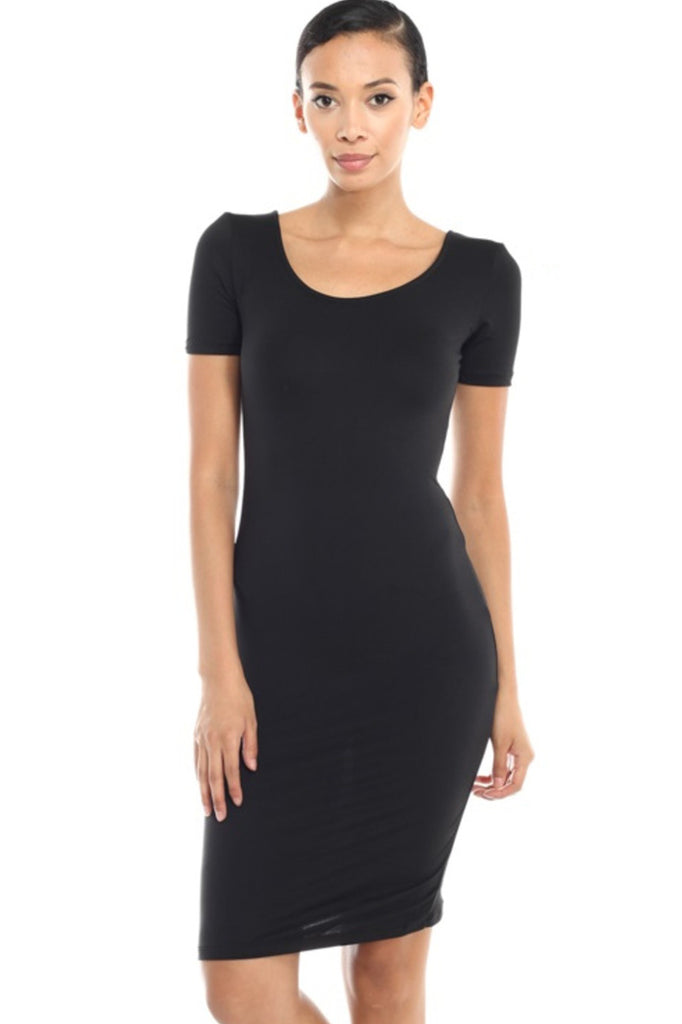 Short Sleeve Bodycon Midi Cocktail Dress - BodiLove | 30% Off First Order - 3 | Black