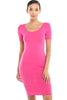 Short Sleeve Bodycon Midi Cocktail Dress - BodiLove | 30% Off First Order - 7 | Fuchsia
