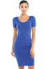Short Sleeve Bodycon Midi Cocktail Dress - BodiLove | 30% Off First Order - 11 | Royal Blue