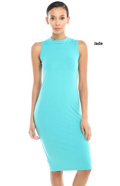 Sleeveless Mock Turtleneck Bodycon Midi Dress - BodiLove | 30% Off First Order  - 1