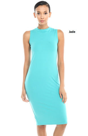 Sleeveless Mock Turtleneck Bodycon Midi Dress
