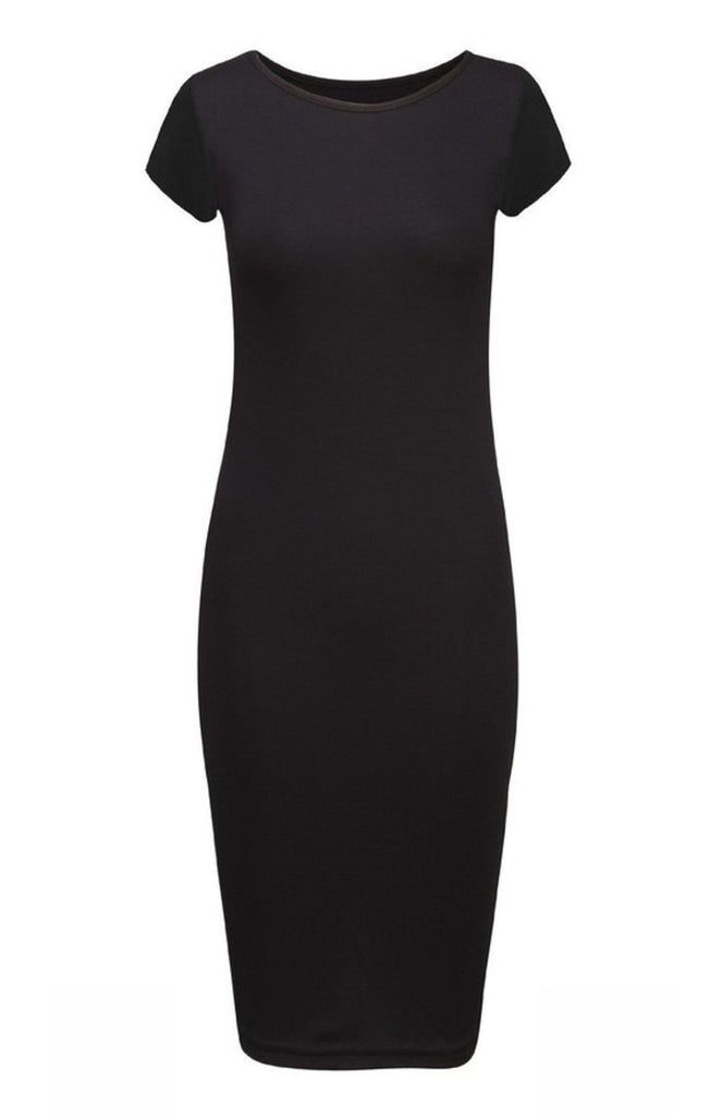 Short Sleeve Knit Bodycon Midi Cocktail Dress - BodiLove | 30% Off First Order - 1 | Black