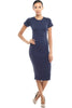 Short Sleeve Knit Bodycon Midi Cocktail Dress - BodiLove | 30% Off First Order - 15 | Navy