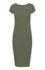 Short Sleeve Knit Bodycon Midi Cocktail Dress - BodiLove | 30% Off First Order - 22 | Olive