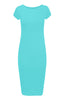 Short Sleeve Knit Bodycon Midi Cocktail Dress - BodiLove | 30% Off First Order - 10 | Jade