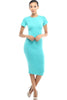 Short Sleeve Knit Bodycon Midi Cocktail Dress - BodiLove | 30% Off First Order - 12 | Jade