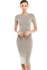 Short Sleeve Knit Bodycon Midi Cocktail Dress - BodiLove | 30% Off First Order - 30 | Taupe