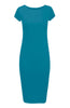 Short Sleeve Knit Bodycon Midi Cocktail Dress - BodiLove | 30% Off First Order - 31 | Teal
