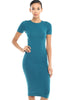 Short Sleeve Knit Bodycon Midi Cocktail Dress - BodiLove | 30% Off First Order - 33 | Teal