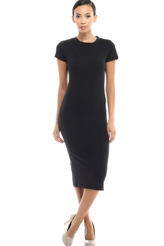 Short Sleeve Knit Bodycon Midi Cocktail Dress