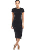 Short Sleeve Knit Bodycon Midi Cocktail Dress - BodiLove | 30% Off First Order | Black