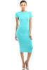 Short Sleeve Knit Bodycon Midi Cocktail Dress - BodiLove | 30% Off First Order - 5 | Jade