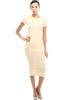 Short Sleeve Knit Bodycon Midi Cocktail Dress - BodiLove | 30% Off First Order - 11 | Khaki