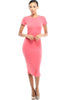 Short Sleeve Knit Bodycon Midi Cocktail Dress - BodiLove | 30% Off First Order - 3 | Coral