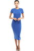 Short Sleeve Knit Bodycon Midi Cocktail Dress - BodiLove | 30% Off First Order - 13 | Royal Blue