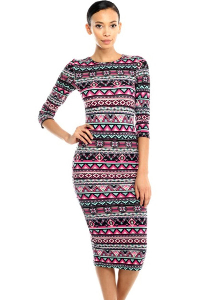 3/4 Sleeve Knit Bodycon Midi Cocktail Dress - BodiLove | 30% Off First Order - 1 | Pink & Black