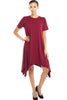 Short Sleeve A-Line Trapeze Tunic Dress - BodiLove | 30% Off First Order - 9 | Burgundy1