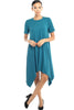 Short Sleeve A-Line Trapeze Tunic Dress - BodiLove | 30% Off First Order - 11 | Teal