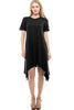Short Sleeve A-Line Trapeze Tunic Dress - BodiLove | 30% Off First Order | Dark Black